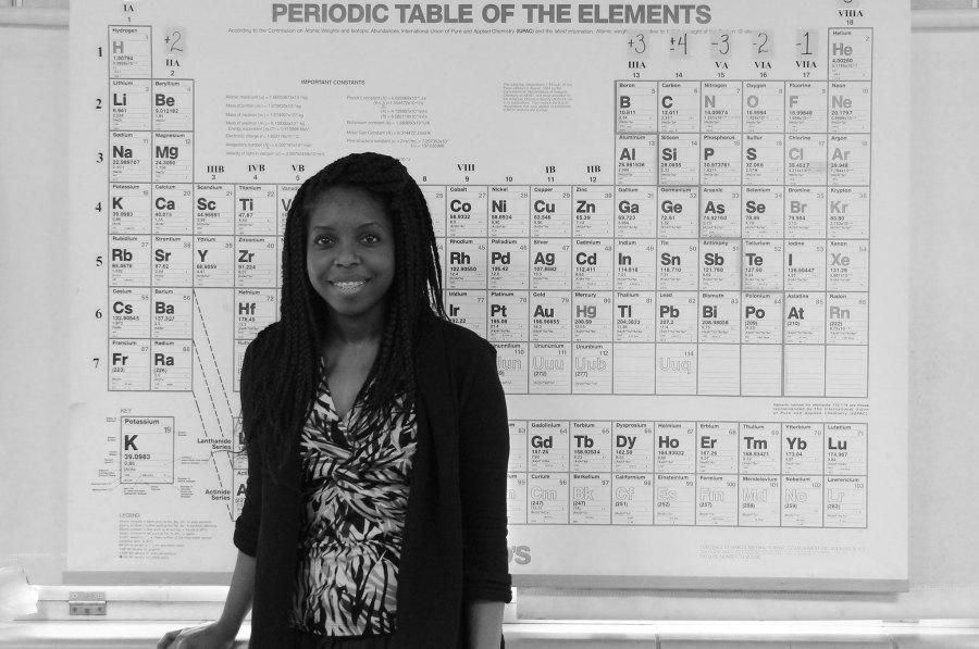 Chemistry and IPC teacher Joy-Anne Oliver in her new classroom. Oliver started at Rider during the second six weeks.