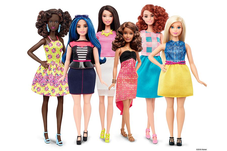 The new 2016 Barbie Fashionistas line includes four body types, seven tones, 22 eye colors and 24 hairstyles. Photo available online by Mattel, Inc.