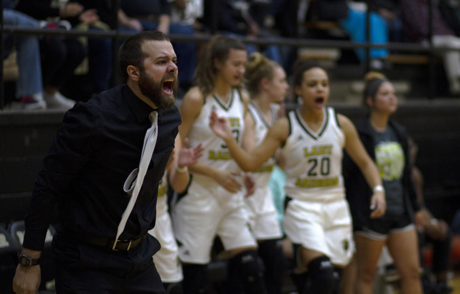 Coach Kendall Webb at last year's girls basketball game.