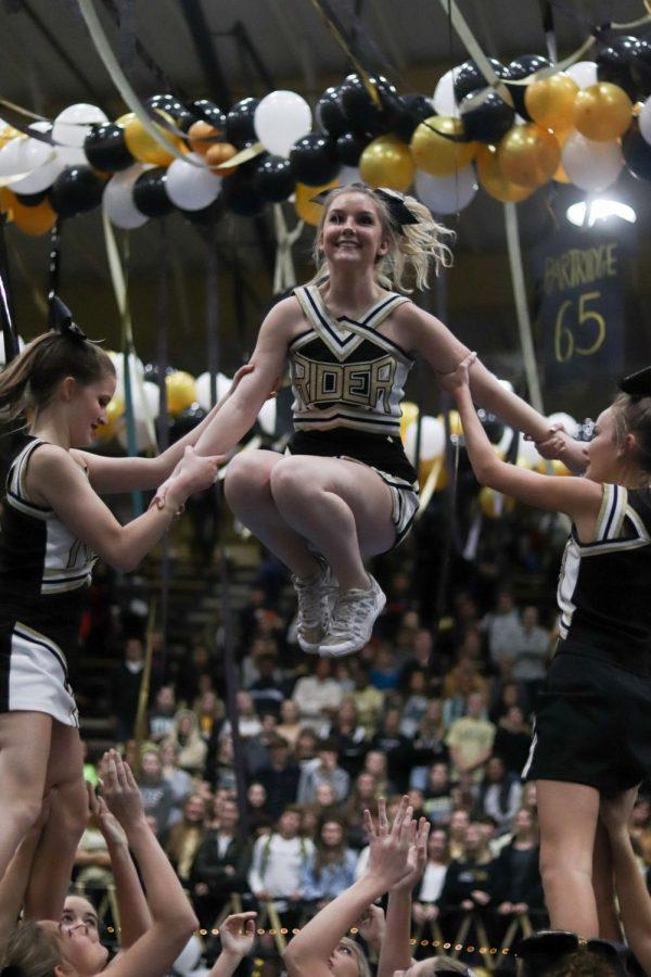 Cheerleaders+performing+during+a+November+pep+rally.+