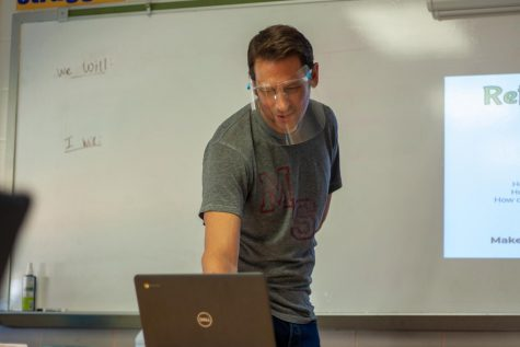 Mr. Byas checks in with his virtual students during English class this week.