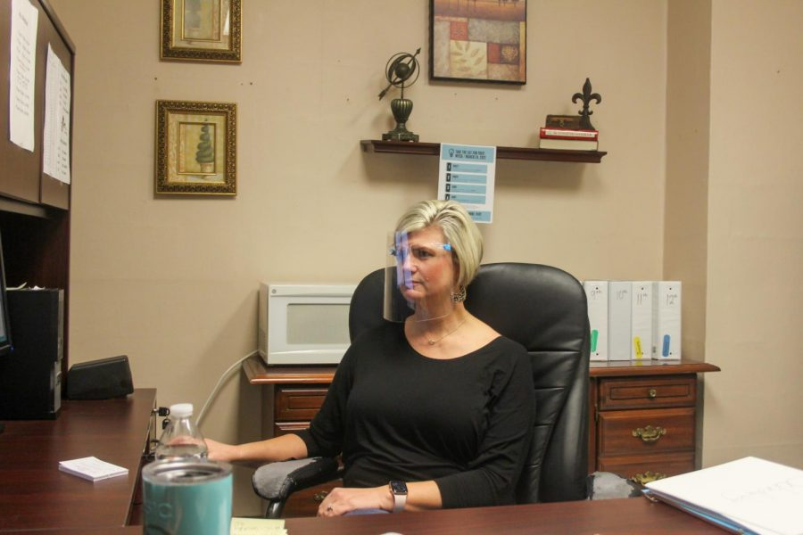 Dr. Wendy Risner working at her desk.