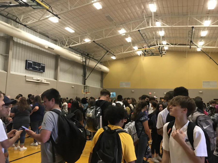 Students evacuated to the Jefferson gym during Mondays bomb threat.