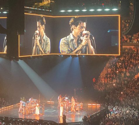 Harry Styles performs Golden at the start of his Sept. 9 concert in San Antonio.