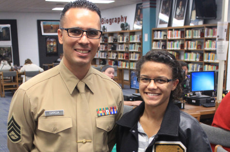 Senior Cintia Vickery with Staff Sergeant Garcia, her Marine Recruiter. Vickery plans on joining the Marines and participating the their ROTC program.