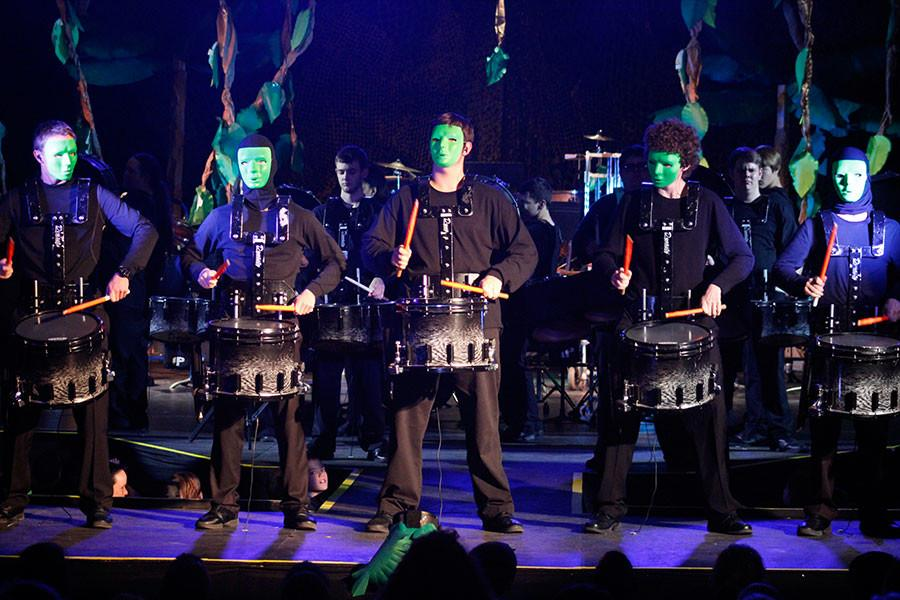 During the opening of Electronica:unleashed, the drum line plays along to