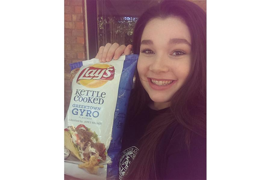 Kallie supported her dad by telling her friends and others to vote for the Kettle Cooked Greektown Gyro chips.