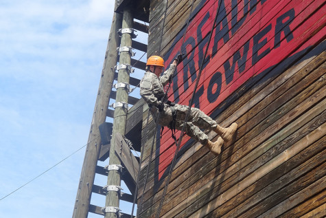 Chris Greenwood rappels from the top of Treadwell Tower at Ft. Sill, Oklahoma. Photo provided by Colonel Kuhl.