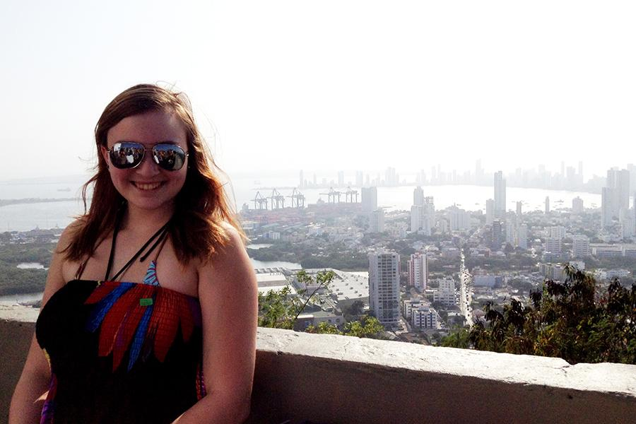 In Cartagena we walked to the top of a fort that was used to defend the city against pirates. We took this picture at the top. The view of the city was gorgeous.