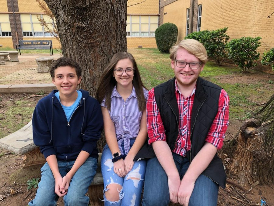 From left to right: Junior Ashton Mastalsz, Junior Rebekah Woodward, Senior Austin Taack. Mastalsz was an alternate for the Tenor 1 section, with Taack placing first chair, also as a Tenor 1, and Woodward placing first chair as an Alto 1.