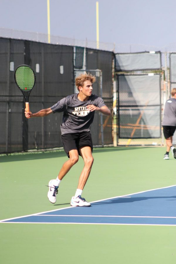 Coen Houtsma is in his second year attending Rider, but it's his first season with tennis.
