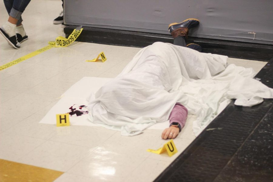 Senior Jaycee Bruner played the dead body last year for the party.