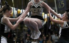 Cheerleaders performing during a November pep rally.