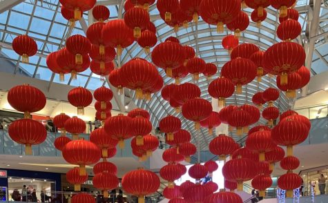 Lanterns hang from the roof of the Dallas Galleria to celebrate Lunar new year, which starts on Jan. 25th.