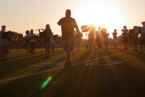 The Pride of the Raiders Band practices in the mornings before school starts.