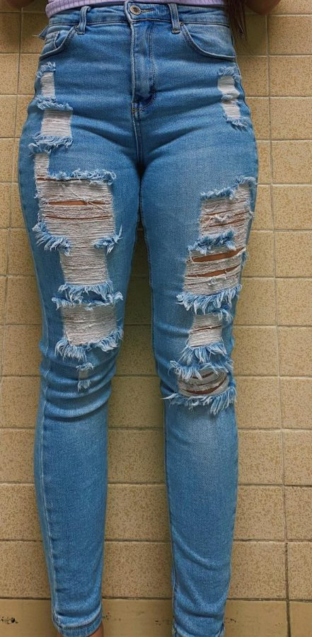 Ripped jeans are one of many key issues students tend to have with the dress code.